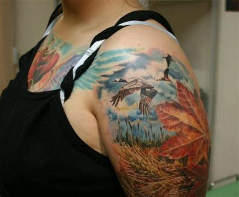 tattoo oriental paisagem shoulder realistic leaf landscape tattoo by ivan yug