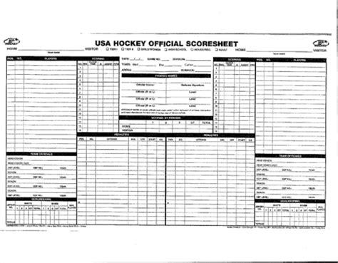 Hockey Score Sheet for Excel, PDF and Word