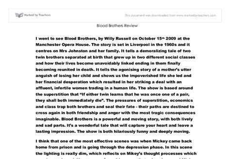 Blood Brothers Gcse Drama Essay by Gcse Drama Blood Brothers Essay Bookcritic X Fc2