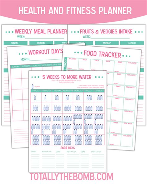 printable food and exercise planner free printable health and fitness planner