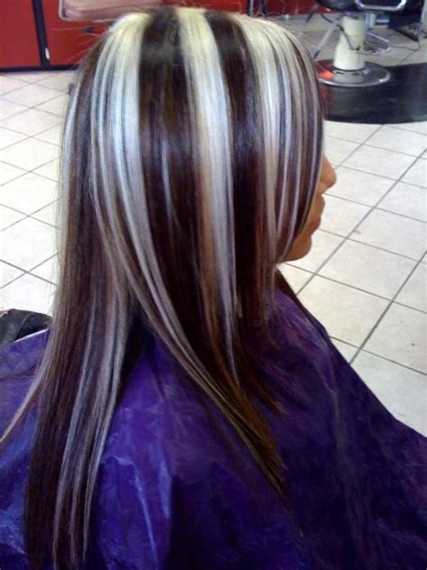 blonde hair with dark chunks black hair with blonde chunks to dye for pinterest