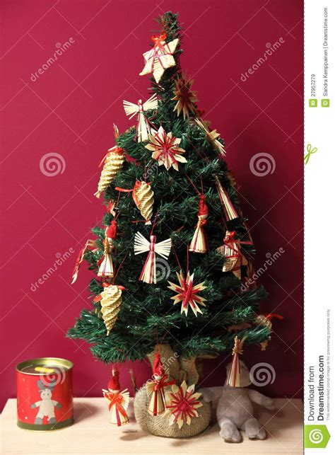 raffia decorated small christmas tree royalty free stock