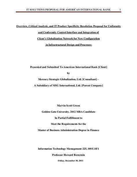 proposal format n level term paper american international bank proposal
