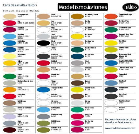 carta de colores testors modelismo