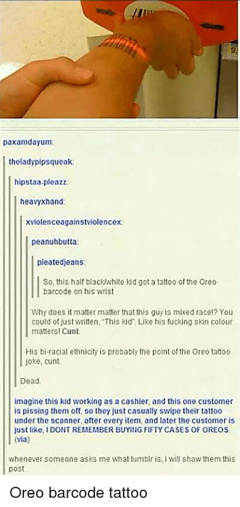 barcode tattoo oreo funny mixed race memes of 2016 on sizzle 4chan