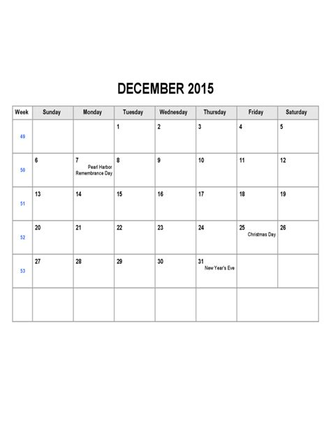 Calendar Template Weekly 2015 Search Results For December 2015 Weekly Calendar Template
