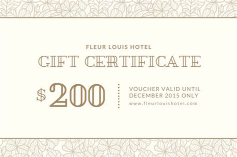 beige bordered hotel gift certificate templates by canva