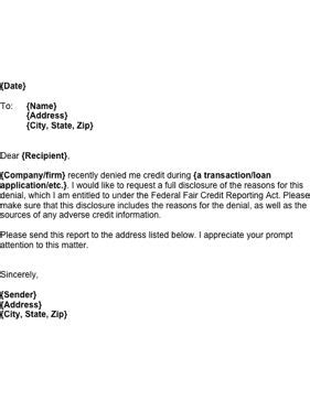 Request Letter New Printer if you been denied credit use this letter to request