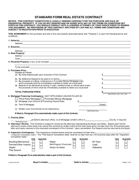Offer To Purchase Contract Template by Standard Form Real Estate Contract Connecticut Free