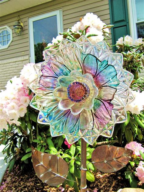 Vintage Glass Plate Flower Upcycled Glass Art Plate Flower Plate Garden