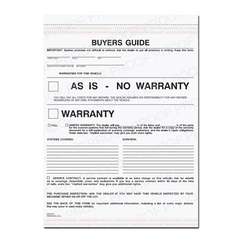 buyers guide warranty form  warranty  car