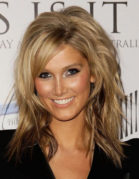piecey messy look for medium length hairstyles delta goodrem medium layered cut my hair style and