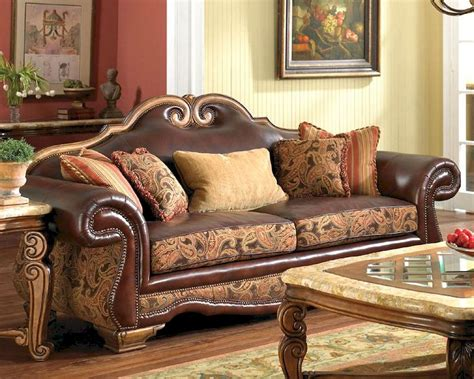 fabric and leather sofa sets aico leather fabric high back sofa tuscano ai 34915 brick 26