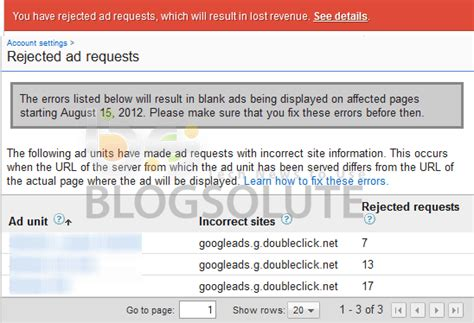 adsense requested fix adsense alert you have rejected ad requests how to