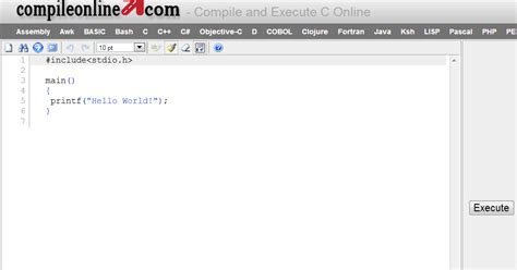 tutorial online compiler programmare in c c java pascal php online compiler