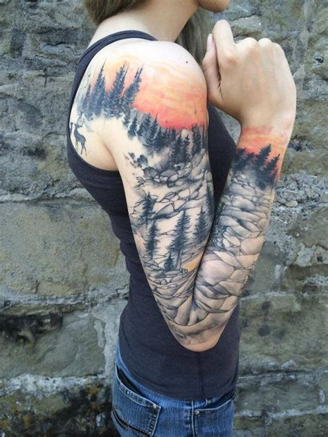full sleeve nature tattoo by nickhole arcade of