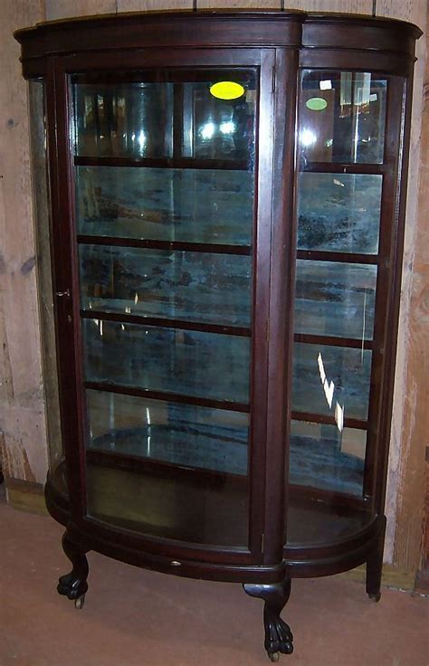 Mahogany Curved Glass China Cabinet Paw Feet Roberts Curved Glass Antique China Cabinet