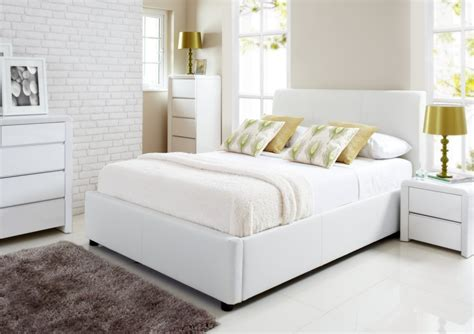 white bed henley white leather ottoman storage bed