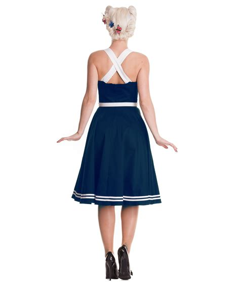 Dres Sailor F hell bunny 50 s sailor siren nautical dress navy blue ebay