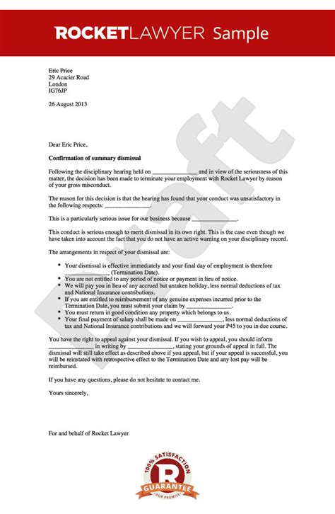 Explanation Letter To Employer For Misconduct Gross Misconduct Dismissal Letter Summary Dismissal Letter