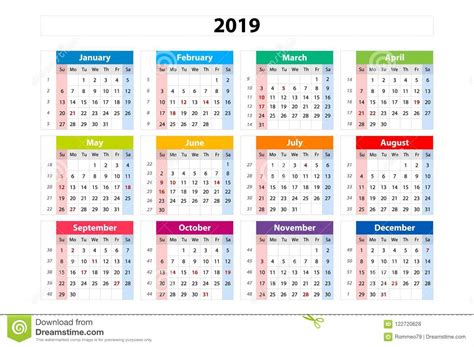 vector calendar  week starts  sunday business template stock vector illustration
