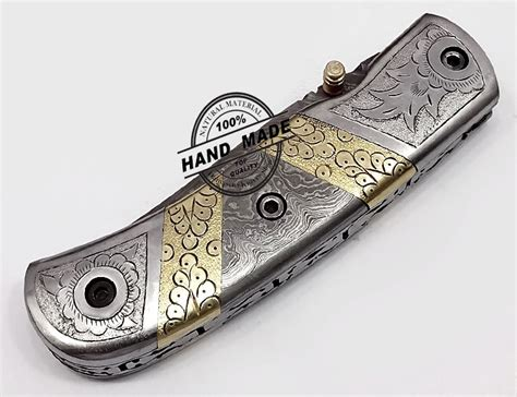 Damascus Steel Kitchen Knives hand engraved beautiful damascus folding knife custom handmade