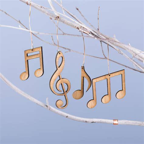 set of four bamboo musical note christmas decorations by