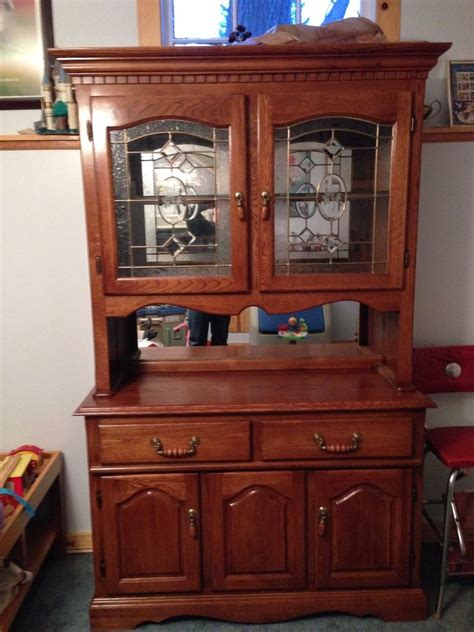 Oak Dining Room Hutch Dining Room Hutch Oak Etched Glass Light Ebay
