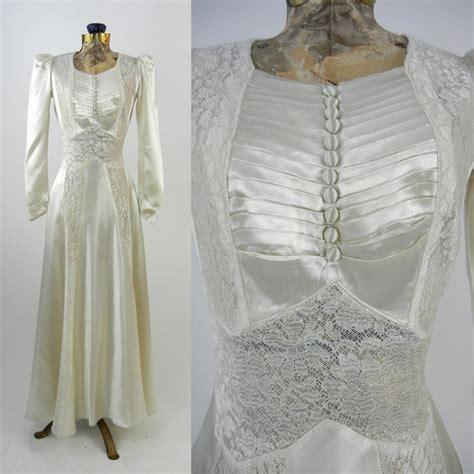 Vintage Wedding Dresses 1930 S by Vintage Wedding Dress 1930s Satin Wedding Gown Vintage Ivory