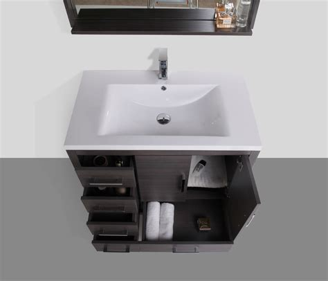 left side sink bathroom vanity moreno 36 gray oak modern bathroom vanity w acrylic sink