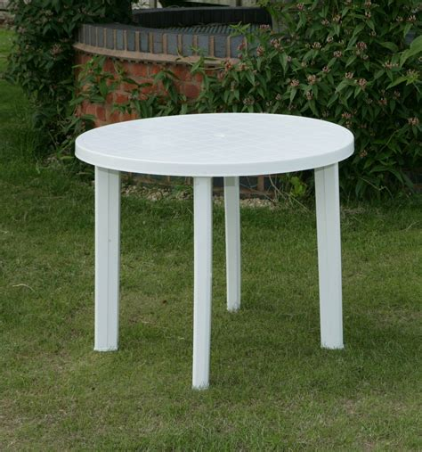 Round Garden Table Only In White Resin Patio Furniture
