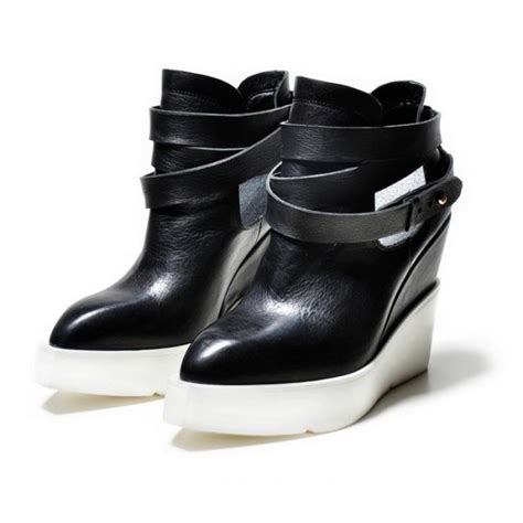 Genuine Leather Platform Shoes black genuine leather white platform high heel boots