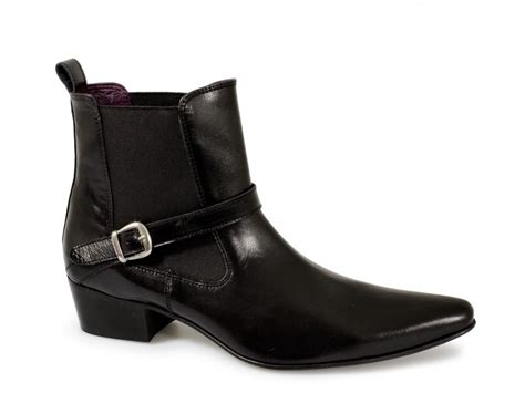 gucinari mens cuban heel pointed buckle boots black buy