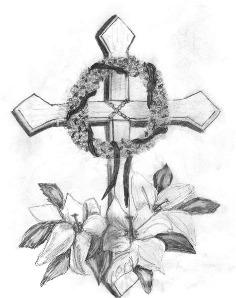 memorial cross drawing by gail schmiedlin