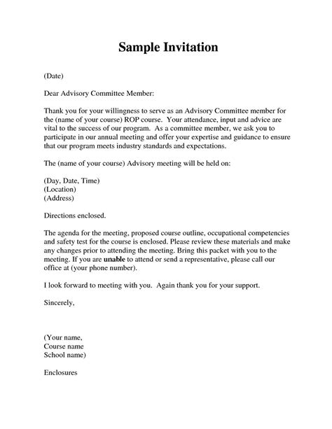 Invitation Letter For Meeting Pdf committee member invitation letter invitation librarry