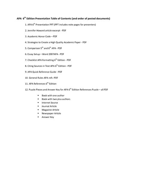 best photos of table of contents page apa format exle