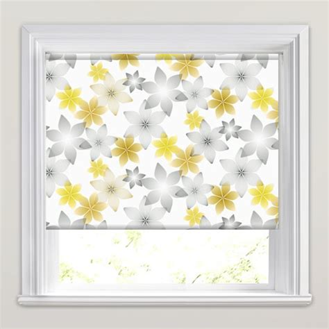 white patterned roller blind yellow gold grey white geometric floral patterned