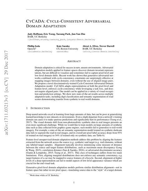 (PDF) CyCADA: Cycle-Consistent Adversarial Domain Adaptation