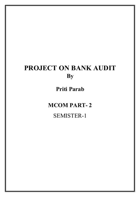 Mba Project On Bank Audit by Bank Audit Slideshare