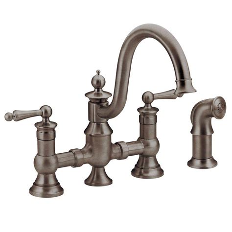 moen rubbed bronze kitchen faucet moen waterhill 2 handle high arc side sprayer bridge kitchen faucet in rubbed bronze s713orb