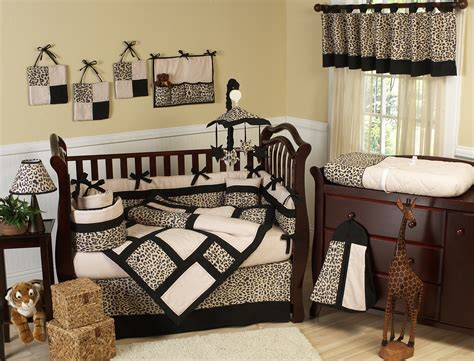 Leopard Print Crib Bedding Set Black Brown Animal Leopard Print Baby Bedding 9pc
