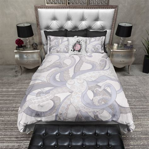 octopus comforter set lavender octopus tentacle duvet bedding sets ink and rags