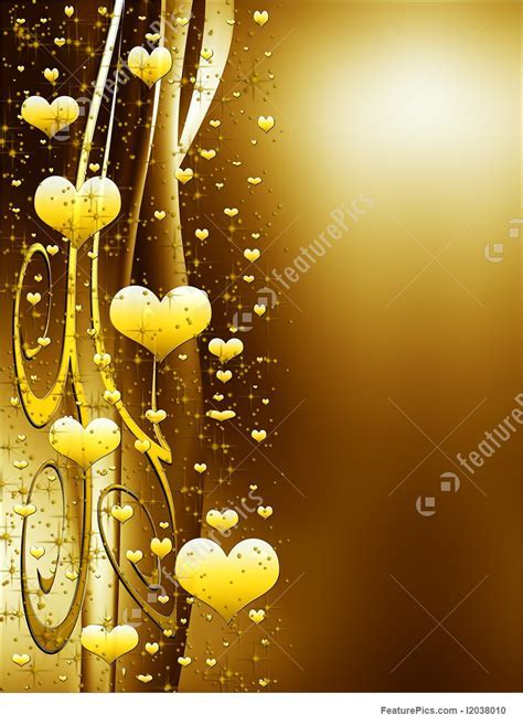 Holidays: Elegant Golden Background With Hearts And Stars