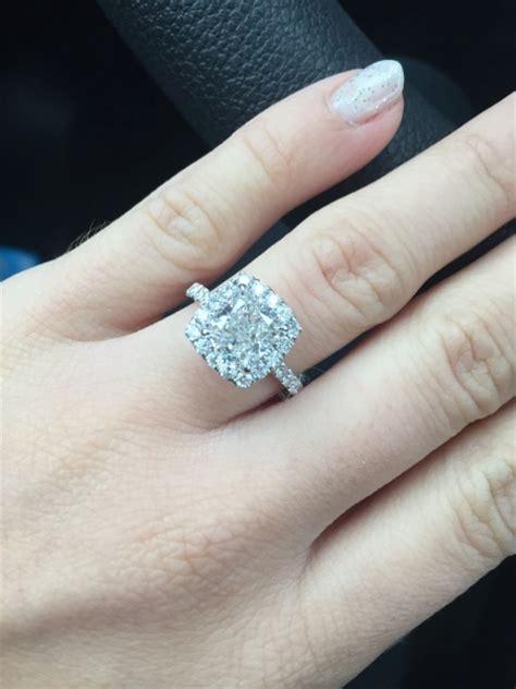 real engagement rings cushion diamonds weddingbee