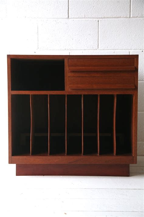 1960s teak record cabinet and chrome