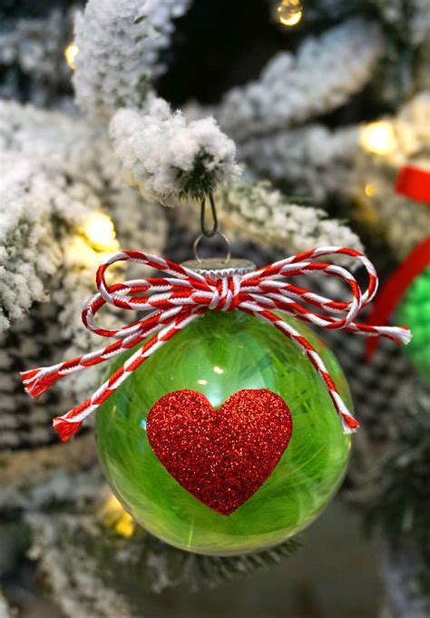 christmas kids craft grinch ornaments happiness  homemade