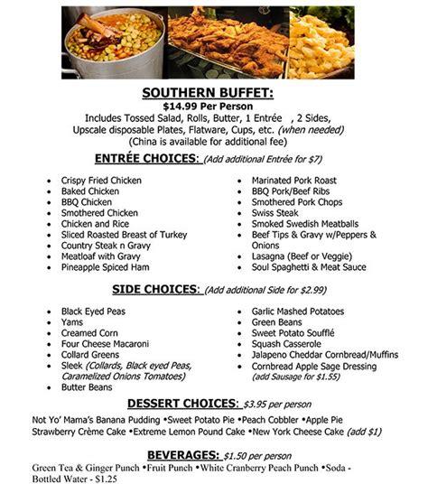 Soul Food Catering Menus Anniversary Buffet Food Ideas Buffet List