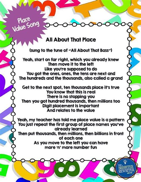A Place Song Lyrics 1000 Ideas About Place Value Song On Place Values Math Songs And Math