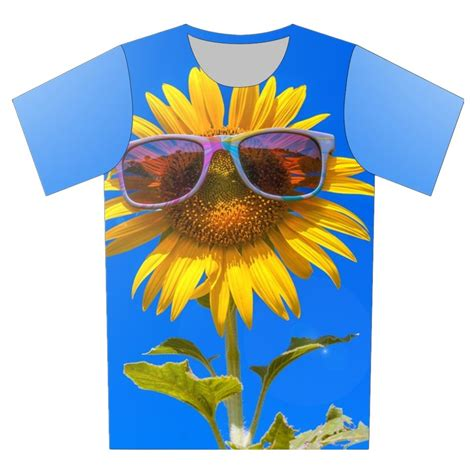 Aigner Sunflower Fashion Blue Coulor Diskon 2016 summer new style 3d t shirt sleeve sunflower blue sky brand design t shirt