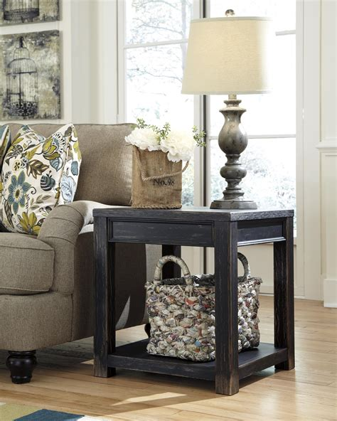 black square end table gavelston distressed black square end table with shelf